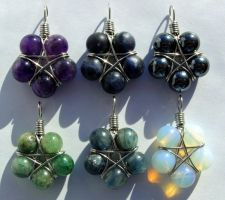 Six Small Gemstone Star Pendants by LWaite