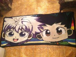 Crochet Gon and Killua Blanket by EndlessBlueSky