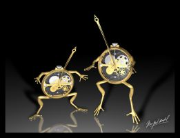 Frogs - Clock by vespertino