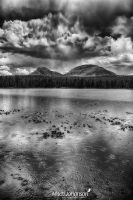 The Peaks Above the Water HDR BW by mjohanson