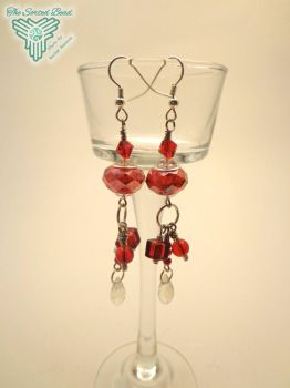 Red Pandora Style Dangle Earrings by TheSortedBead