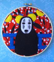 Spirited Away No Face Embroidery Hoop by iggystarpup