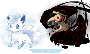 Vulpix(Ice) and Mimikyu by Mgx0