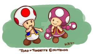 Toad and Toadette by Resuri-chan