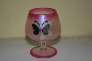 pink and black butterfly wineglass by RG-Studios