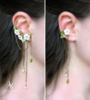 Floral ear cuff set Rain in the apple orchard by JuliaKotreJewelry