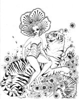 Lady With Flowers and Tigers by pink-porcupine