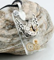 Steampunk watch tile pendant by Xerces