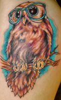 Hipster Owl Tattoo by JessicaCanvas