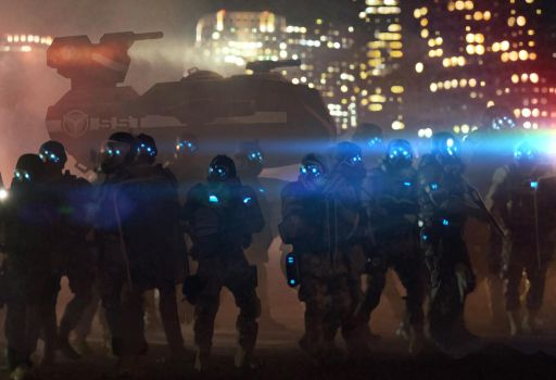 Shadowrun Riot Control Police and Walker Mech by raben-aas