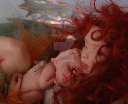 Teacup Fairy and baby by polymer-people