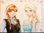 Commission - Anna and Elsa by fireaangel