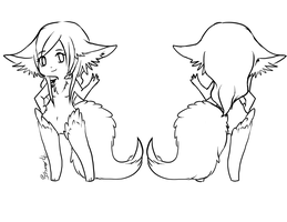 Female Clawtail Ref.:Lineart:. by itsmar-Adopts
