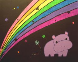 hippo and rainbow by AmberDorkface