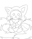 Pichu in a tails costume lineart by xXHeartless-RosesXx