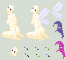 Pixel Doll Base - Fairy by umrae