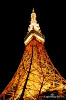 Tokyo Tower by night by Exploding-Art