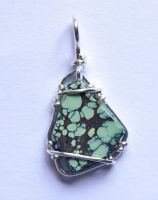 Spiderweb turquoise chip pendant by lamorth-the-seeker