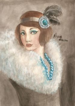 Flapper in Cloud Fur Cape by niumi