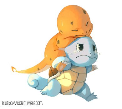Charmander and Squirtle by bluekomadori