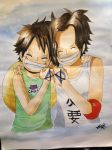 Luffy and Ace by X3snowangel