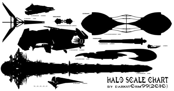 HALO SHIP SCALE CHART LARGE by D4RKST0RM99