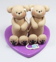 Bears Wedding Cake Topper (Music Theme) by HeartshapedCreations