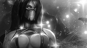 Mileena B/W by eskeleton22