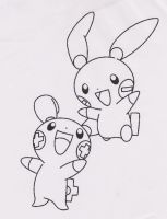 Free Plusle and Minun Lineart by MarauderWolf93