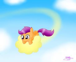 Scootaloo on Nimbus by Spice5400