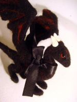 Black needle felted dragon 2 by Projectsubvert