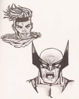 Gambit and Wolverine by darkparade