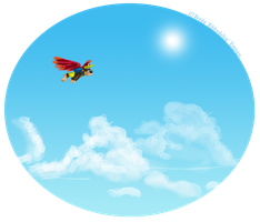 Bear and bird in flight by Ribbedebie