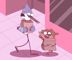 Mordecai and Rigby by OysteIce