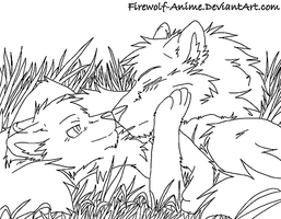 WolfLOVELineArt by Firewolf-Anime