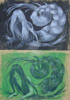 Hair Creature relief print 1 by YYHyasha