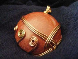 Wrapped Goldstone Pendant by BacktoEarthCreations