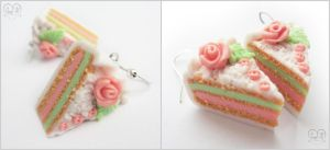 .:Earrings 'Cream cake':. 2 by AnielClayWorks