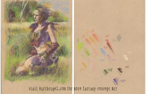 barbarian WENCH study 001 full color preliminary by SpiritedFool