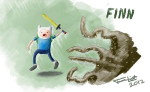 Finn Chased By An Octopus by 3dsnoob
