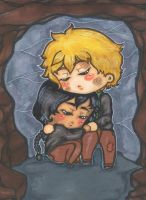 HG Peeta Mellark  and Katniss Everdeen chibi CAVE by Shinku-chan