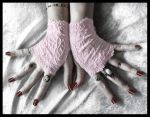 Pink Lace Fingerless Gloves by ZenAndCoffee