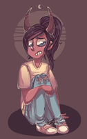 Worried demon girl by TheKnysh