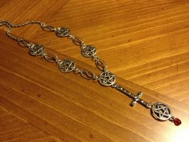 Satanic Rosary silver with pentacles version 2 by SigilofSulfer