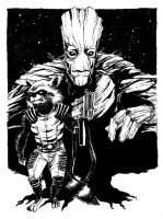 Rocket + Groot by B3NN3TT