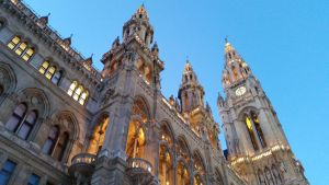 Vienna City Hall in the evening by TangledWolf