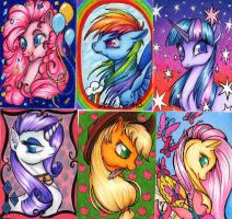 Auction: Mane 6 ACEOs by dead-kittens3