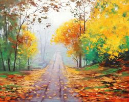 Road through the mist by artsaus