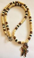 OOAK 4th Doctor wooden bead necklace by Lovelyruthie