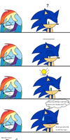 Sonic gets hit by Rainbow Dash by BlackMasterElite15